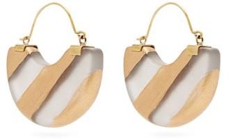 Vanda Jacintho - Striped Half-moon Resin Earrings - Gold