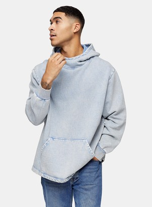 Topman Washed Blue Relaxed Hoodie