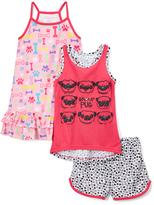 Komar Kids Pink & Black 'Group Pug' Nightgown & Pajama Set - Girls