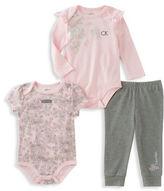 Calvin Klein Three-Piece Short Sleeve Bodysuit, Long Sleeve Bodysuit and Pants Set
