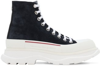Alexander McQueen High Top Leather Lace-Up Sneakers
