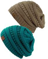 C&C Unisex Trendy Warm Chunky Soft Stretch Cable Knit Slouchy Beanie Skully (Gift Set- Teal & Taupe)