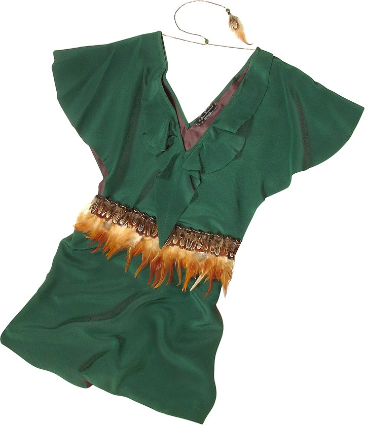Hafize Ozbudak Jade Green Silk Tunic with Feather Belt
