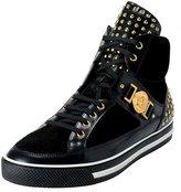 Versace Men's Suede Leather Hi Top Sneakers Shoes