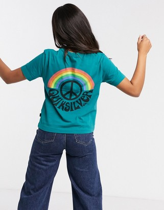 Quiksilver OG cropped peace sign t-shirt in teal