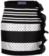 Ungaro Striped Skirt with Ruffle Trim