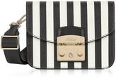 Furla Black and White Striped Leather Metropolis Mini Crossbody Bag