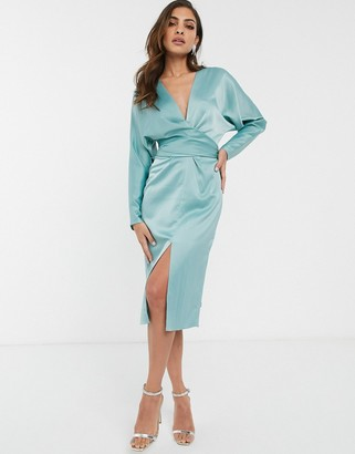 Asos Design DESIGN midi dress with batwing sleeve and wrap waist in satin-Blue