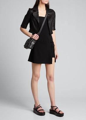 Susan Bender Short-Sleeve Cropped Leather Moto Jacket