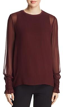 Go by Go Silk Semi-Sheer Smocked Sleeve Blouse
