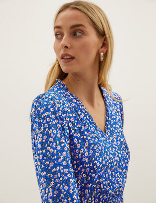 Marks and Spencer Floral Collared Tie Front Midi Shirt Dress