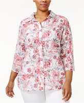 Charter Club Plus Size Floral-Print Eyelet Shirt, Created for Macy's