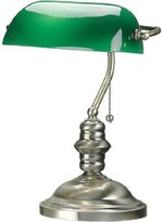 Lite Source LS-224AB Banker 14-1/2-Inch 60-Watt Banker's Lamp with Glass Shade, Antique Brass
