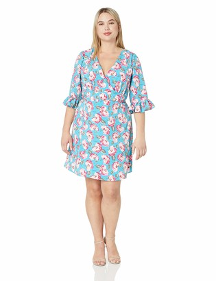 Betsey Johnson Women's Plus-Size Boho Bell Sleeve Dress
