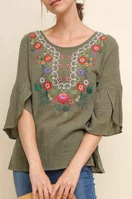 Umgee USA Embroidered Gauze Top