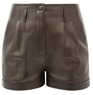 Saint Laurent High-rise Pleated Leather Shorts - Dark Brown