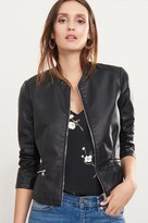 Dynamite Collarless Faux Leather Jacket with Zips