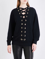 Balmain Lace-up cotton-jersey sweatshirt