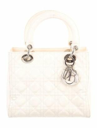 Christian Dior Medium Patent Cannage Lady Bag w/ Strap Silver