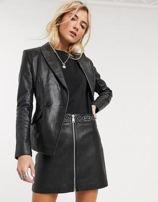AllSaints luna studded a-line leather mini skirt in black