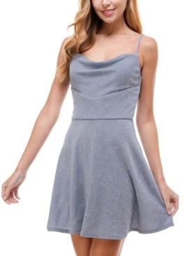 City Studios Juniors' Cowlneck Glitter Fit & Flare Dress