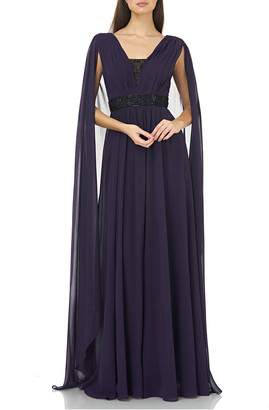 Carmen Marc Valvo Beaded V-Inset Chiffon Gown with Cape