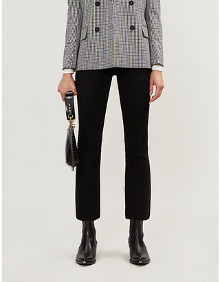 Sprwmn Flared slim-fit high-rise suede trousers