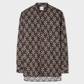 Paul Smith Men's Blue And Khaki 'Muted Floral' Print Band-Collar Shirt