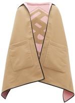 Burberry Logo-jacquard Wool-blend Hooded Poncho - Womens - Beige