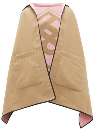 Burberry Logo-jacquard Wool-blend Hooded Poncho - Beige