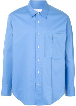 Solid Homme Pleated Chest Pocket Shirt