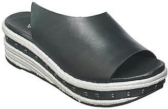 Antelope Women's Sandals Black - Black & White Stud-Accent Leather Wedge Sandal - Women