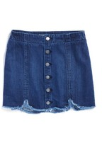 Tractr Girl's Frayed Scallop Denim Skirt