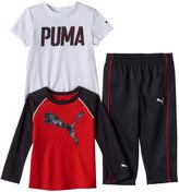 Puma Toddler Boy Logo Long Sleeve & Short Sleeve Tees & Pants Set
