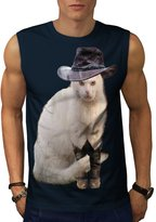 Mister Cat Hat Cute Funny Howdy Cat Men XL Sleeveless T-shirt | Wellcoda