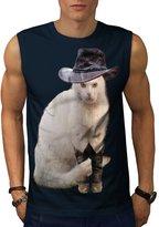 Mister Cat Hat Cute Funny Men L Sleeveless T-shirt | Wellcoda
