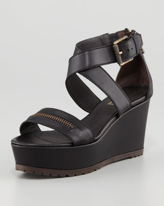 Belstaff Zipper Wedge Sandal, Black