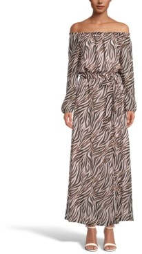 INC International Concepts Inc Zebra-Print Off-The-Shoulder Maxi Dress, Created for Macy's