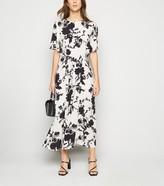 New Look Floral Elasticated Waist Midi Dress