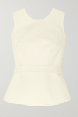Safiyaa Riddhi Belted Open-back Crepe Top - Ivory