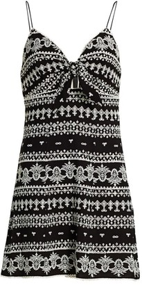 Alice + Olivia Roe Embroidered Tie-Front Mini Dress