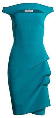 Chiara Boni Melania Off-The-Shoulder Side Ruched Cut Out Sheath Dress