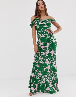 Club L tropical print bardot cowl neck maxi dress