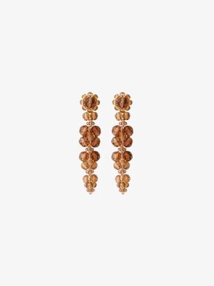 Simone Rocha Orange Crystal Flower Drop Earrings