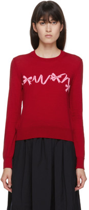 COMME DES GARÇONS GIRL Red Wool Intarsia Bow Crewneck