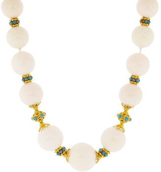 Verdura White Coral and Turquoise Necklace
