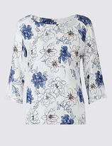 M&S Collection Floral Print 3/4 Sleeve Shell Top