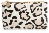 Clare Vivier Snow Leopard Print Genuine Calf Hair Pouch - White