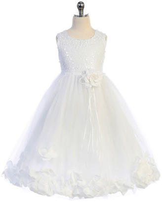 Kid's Dream Girls' Special Occasion Dresses White/White - White Petal-Accent A-Line Dress - Toddler & Girls