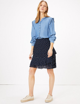 Marks and Spencer Chiffon Polka Dot Ruffle Mini Skirt